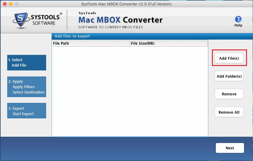 Add Mac MBOX File