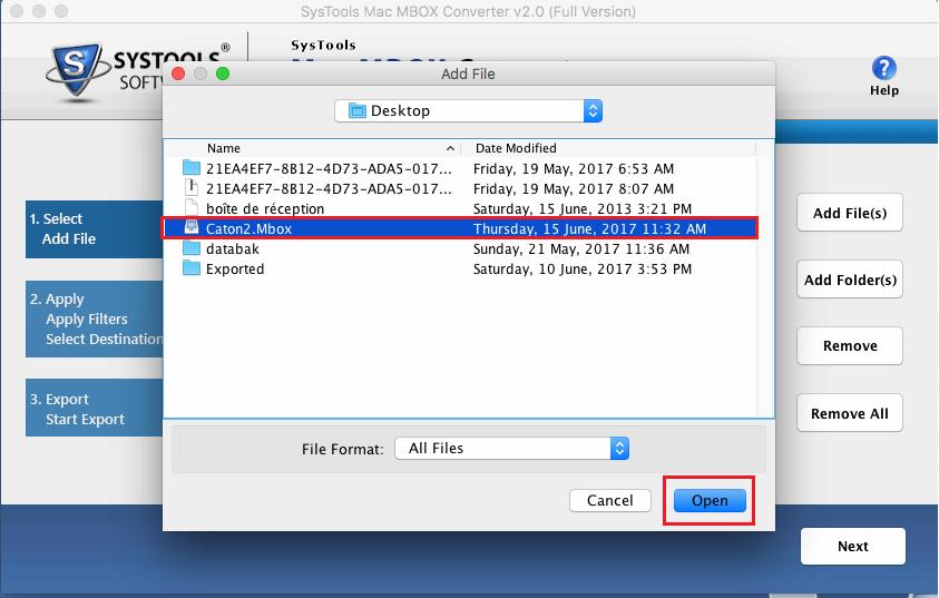 Select Mac MBOX Files/Folders